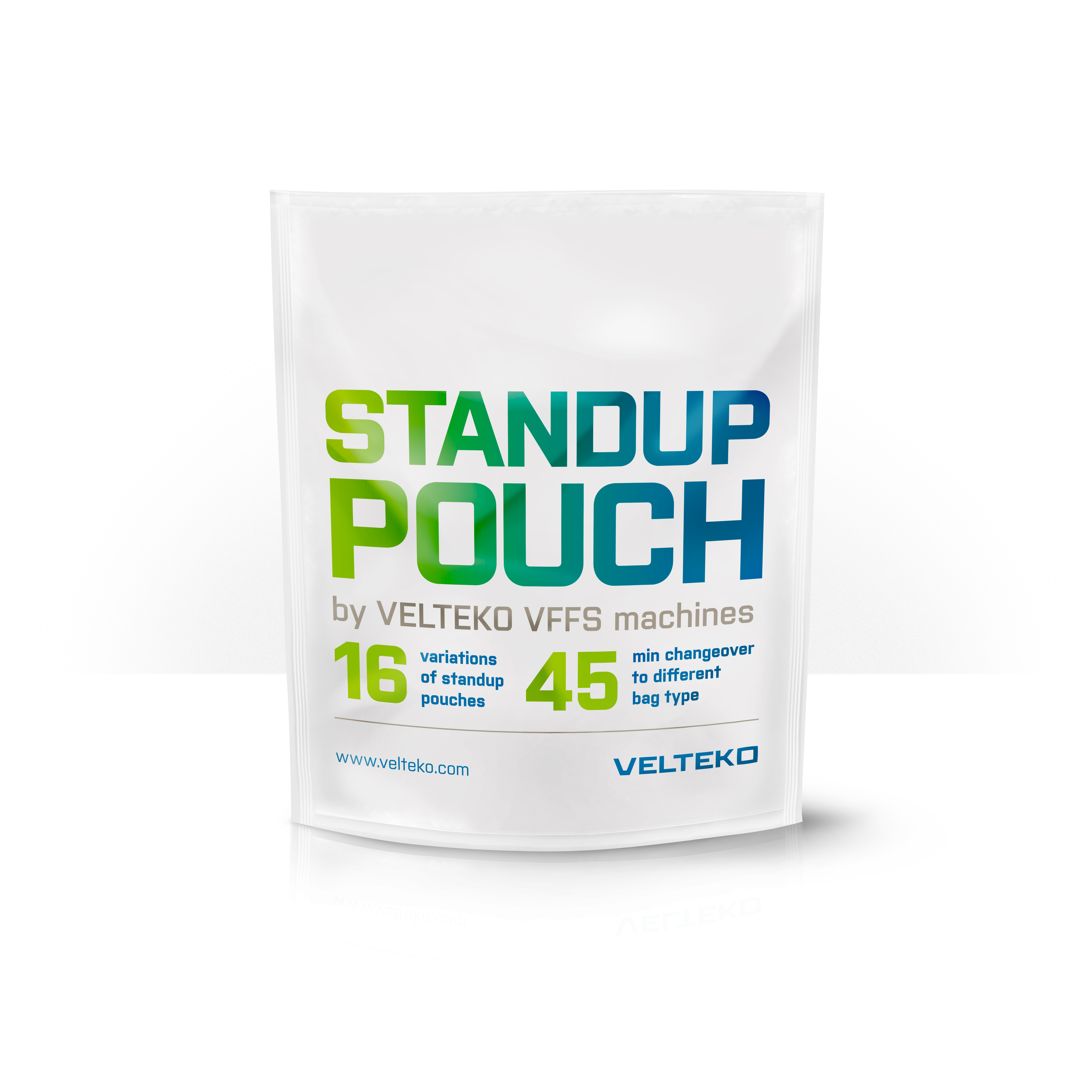Stand up pouches created on Velteko vertical packaging machines